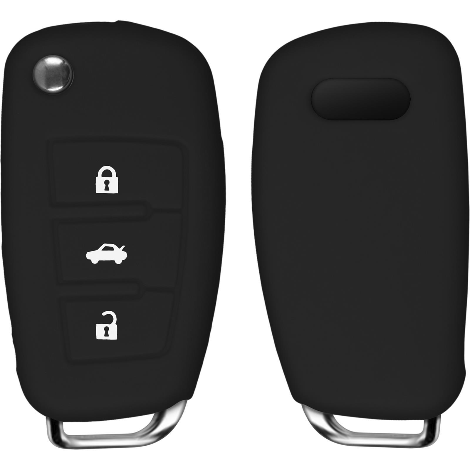 Silicona llave del coche para el caso 3-botón remoto AUDI A4L 2009 Flip Negro Plegable