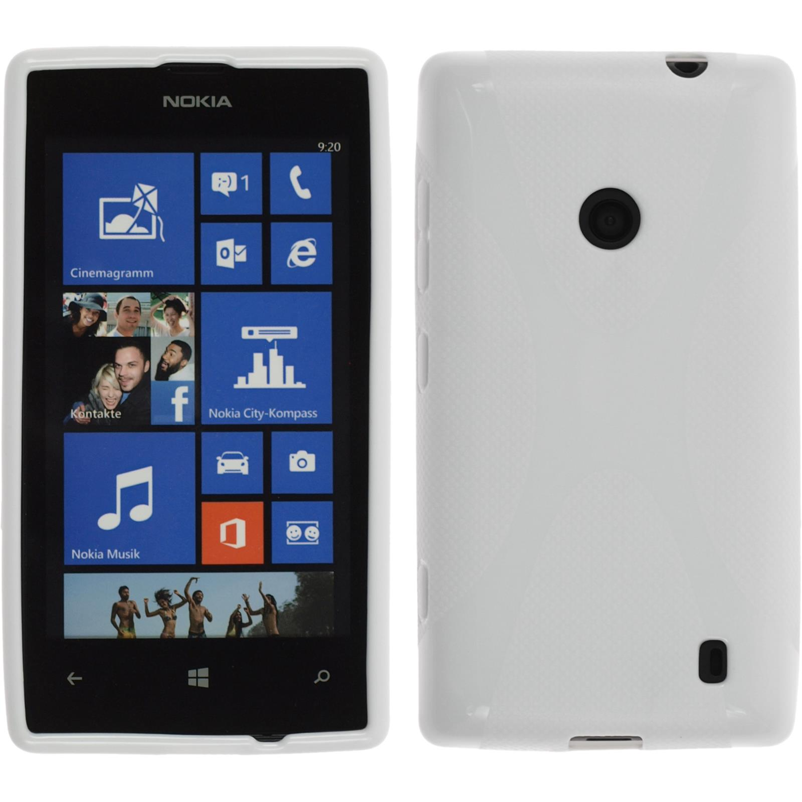Coque-en-Silicone-Nokia-Lumia-520-X-Style-blanc-films-de-protection