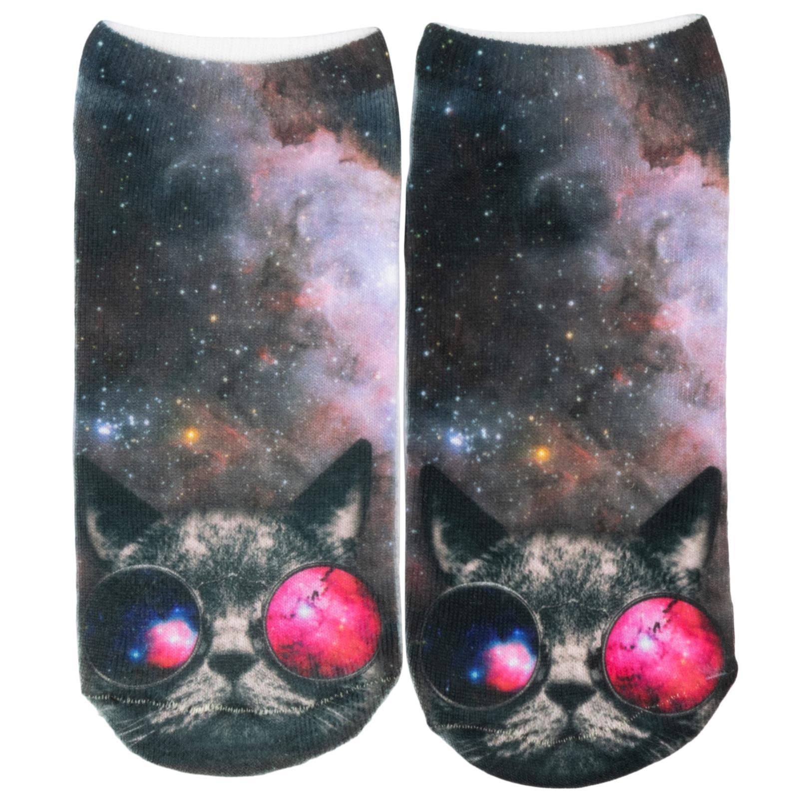 Cosey – 1 Paia Sneaker Calzini Breve Polarzip – Space Cat – Flexigröße 33-40-