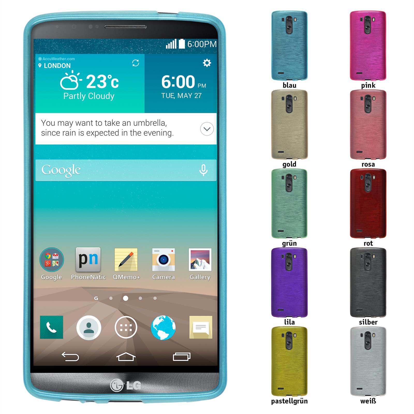 Schutzhülle für LG brushed Cover Silikonhülle Bumper Case + Schutzfolien