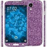 1 x Glitter foil set for Samsung Galaxy S4 purple protection film