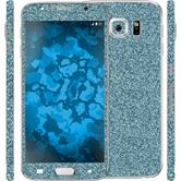 1 x Glitter foil set for Samsung Galaxy S6 blue protection film