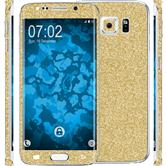 1 x Glitter foil set for Samsung Galaxy S6 Edge gold protection film