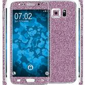 1 x Glitter foil set for Samsung Galaxy S6 Edge Plus purple protection film