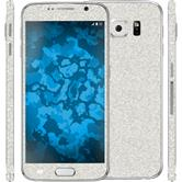 1 x Glitter foil set for Samsung Galaxy S6 silver protection film