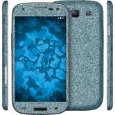 1 x Glitzer-Folienset für Samsung Galaxy S3 blau
