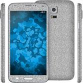 1 x Glitzer-Folienset für Samsung Galaxy S5 silber