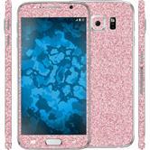 1 x Glitzer-Folienset für Samsung Galaxy S6 pink