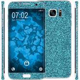 1 x Glitzer-Folienset für Samsung Galaxy S7 Edge blau