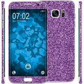 1 x Juego de láminas adhesivas brillantes para el Samsung Galaxy S7 Edge púrpura