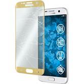 1 x Samsung Galaxy S7 Edge Glas-Displayschutzfolie klar full screen gold