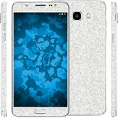 2 x Glitter foil set for Samsung Galaxy J5 (2016) J510 silver protection film