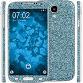 2 x Glitter foil set for Samsung Galaxy S4 blue protection film
