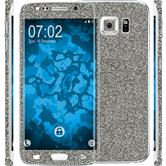 2 x Glitter foil set for Samsung Galaxy S6 Edge Plus gray protection film
