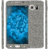 2 x Glitter foil set for Samsung Galaxy S6 gray protection film