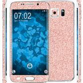 2 x Glitzer-Folienset für Samsung Galaxy S6 Edge rosa