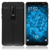 Silikon Hülle Nokia 6.1 (2018) Lederoptik schwarz Case