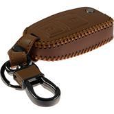 car key Genuine leather stitched cas2-Key remote  VW light brown flip folding