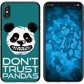 Apple iPhone X / XS Silicone Case Crazy Animals Panda M2