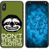 Apple iPhone X / XS Silicone Case Crazy Animals sloth M3