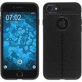 Silikon Hülle iPhone 8 Lederoptik schwarz Case