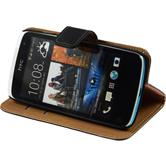 Artificial Leather Case for HTC Desire 500 Wallet black