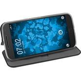 Artificial Leather Case for Motorola Moto G4 Etui black + protective foils