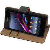 Artificial Leather Case for Sony Xperia Z1 Compact Wallet black