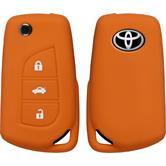 Coque en silicone clé auto orange télécommande Toyota new Corolla / Camry 3 touches Clé articulée