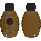 cover in vera pelle stitched chiavi per telecomando a 3 tasti Mercedes-Benz S Klasse bruno chiaro chiave a scatto a 3-Key