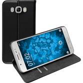 Cubierta de cuero artificial para Samsung Galaxy J7 (2016) J710 Bookstyle negro + protector de pantalla