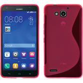 Custodia in Silicone per Huawei Honor 3X G750 S-Style rosa caldo