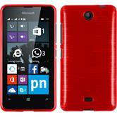 Custodia in Silicone per Microsoft Lumia 430 Dual brushed rosso
