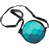 cosey - Round artificial leather shoulder bag with print design - Hexagon Blue