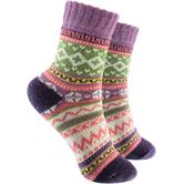 2 Paar Socken in Norweger Design lila (33 – 40)