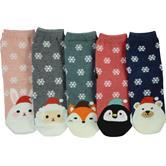 cosey – Winter-Socken – 5er-Set Einheitsgröße 33-40 – Tiere mit Weihnachtsmützen