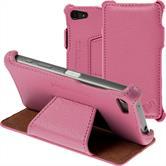 Echt-Lederhülle Xperia Z5 Compact Leder-Case rosa + Glasfolie
