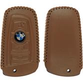 Echtleder stitched Schlüssel Hülle BMW 3er E90 - 5er F10 - 7er F01 4-Tasten Fernbedienung hellbraun Funkschlüssel