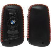Echtleder stitched Schlüssel Hülle BMW X1 F48 - X3 F25 - X5 F15 - X6 F16 4-Tasten Fernbedienung schwarz Funkschlüssel
