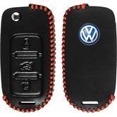 Echtleder stitched Schlüssel Hülle für die VW Tiguan 3-Tasten Fernbedienung in schwarz Klappschlüssel
