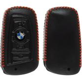Echtleder stitched Schlüssel Hülle BMW 3er E90 - 5er F10 - 7er F01 4-Tasten Fernbedienung schwarz Funkschlüssel