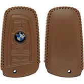 Echtleder stitched Schlüssel Hülle BMW X1 F48 - X3 F25 - X5 F15 - X6 F16 4-Tasten Fernbedienung hellbraun Funkschlüssel