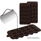 2er Set Silikon-Pralinenformen (rund/eckig) – Silikonform (BPA-frei) für Schokolade