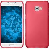 Silicone Case Galaxy C7 Pro matt red + protective foils