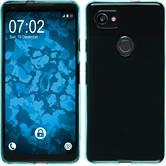 Silicone Case Pixel 2 XL transparent turquoise + protective foils