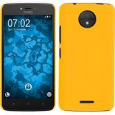 Hardcase Moto C rubberized yellow + protective foils