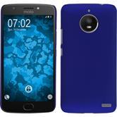 Hardcase Moto E4 (EU Version) rubberized blue + protective foils