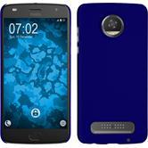 Hardcase Moto Z2 Play rubberized blue + protective foils