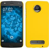 Hardcase Moto Z2 Play rubberized yellow + protective foils