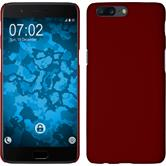 Hardcase OnePlus 5 rubberized red + protective foils